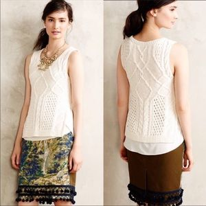 Anthropologie Moth Knit Sweater Tank Top Cream XS